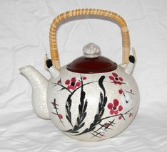 Japanese Handmade Vintage Pottery Glazed Floral Wicker Handle Teapot New - $14.84