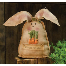 Country CARROTS FOR SALE BUNNY DOLL Primitive Spring Easter Farmhouse Ru... - $46.99