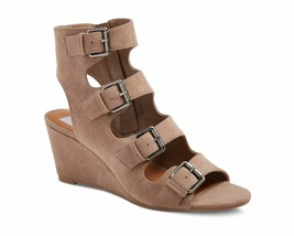 New Dolce Vita Womens light Taupe LeeAnn Buckle Wedge Gladiator Sandal