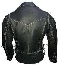 Asymmetrical Zipper Brando Biker Distressed Black Leather Jacket image 3