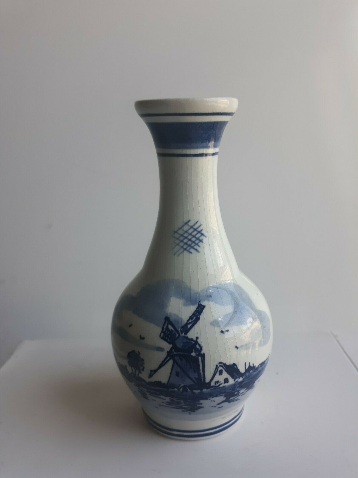 """Vintage Delft Hand Painted Blue and White Holland Fluted Vase Windmill 5"""" inch - $19.79"""