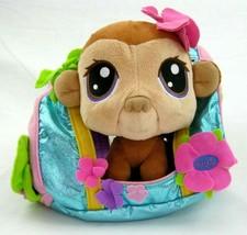 "Littlest Pet Shop 7"" Plush Stuffed Bobble Head Monkey & Cloth Carrier 2005  - $14.44"