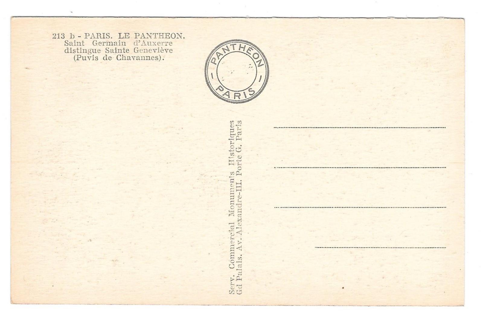France Paris Pantheon Saint Germain Sainte Genevieve Painting Chavannes Postcard