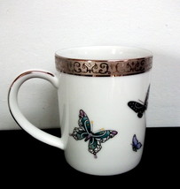 1999 Royal Gallery Platinum Buffet Turquoise Butterfly Accent Mug - $8.91