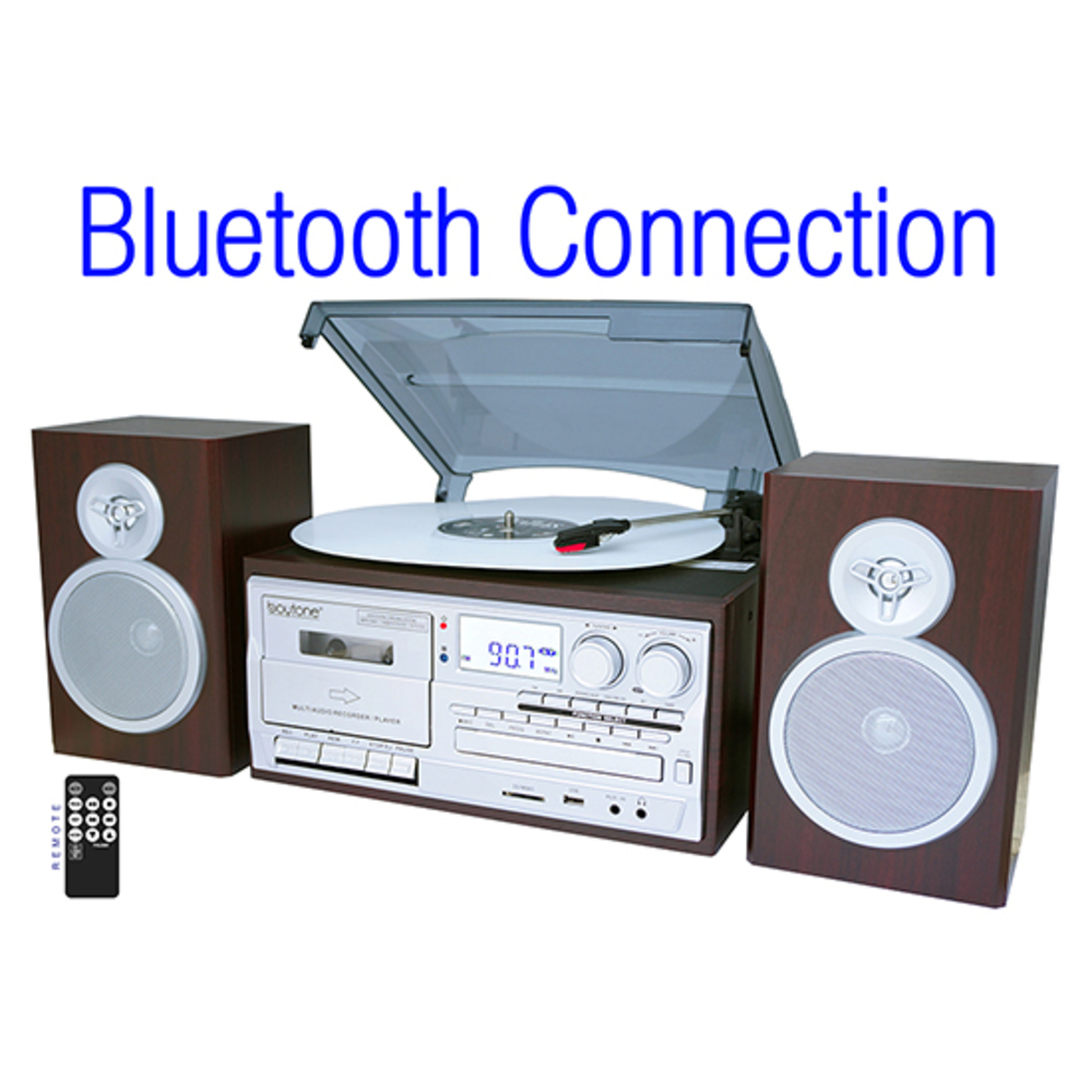 Boytone BT-28SPS, Bluetooth Classic Style Record Player Turntable with AM/FM Rad