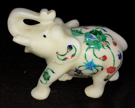"""MARBLE INLAY ELEPHANT 4"""" TALL FOR HOME DECOR AND GOOD LUCK - $110.00"""