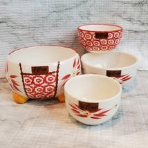 Nesting Measuring Cups, 4 piece set, Vintage ceramic, Temp-Tations Red Floral image 2