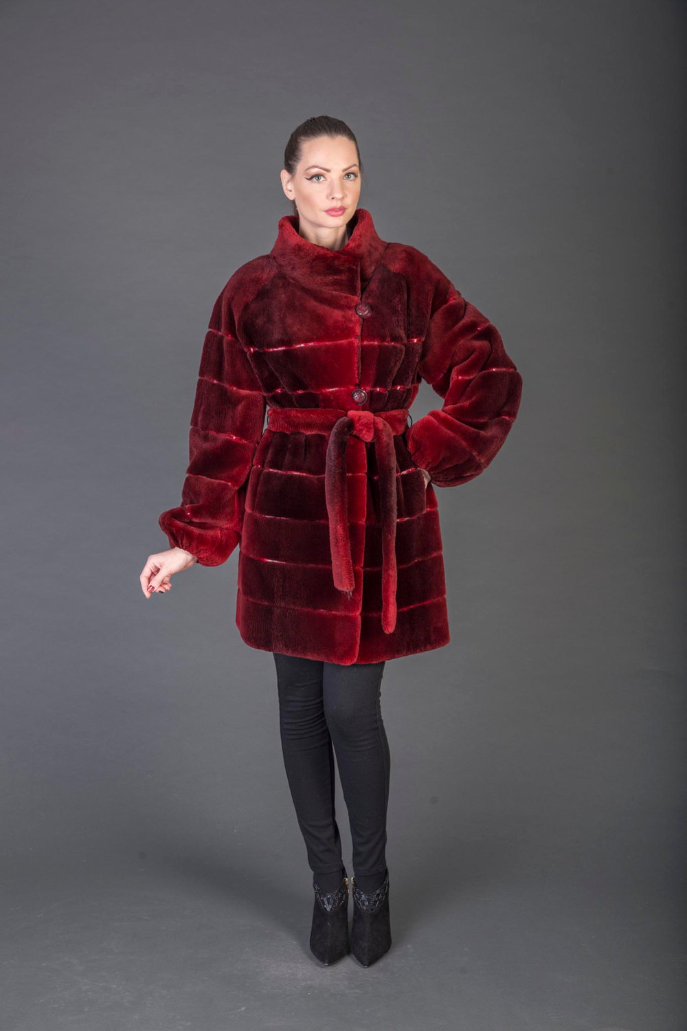 Primary image for Luxury gift/Burgundy and red  Beaver Fur Coat/With Belt/Fur jacket /Wedding,or a