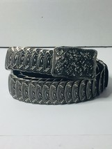 Women's Fashion Belt Silver Tone Metal Midwestern Stretchy Elastic Mediu... - $11.99