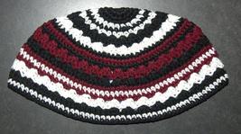 Frik Kippah Skullcap Yarmulke Yamaka Crochet Burgundy Black Striped Israel 26 cm