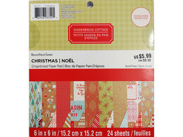 """BoBunny Christmas Gingerbread, 6x6"""" Paper Pad #491373, Double-Sided"""