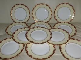 "Vintage Crown Staffordshire Porcelain Set of 12 Luncheon Plates 9"" - $279.00"