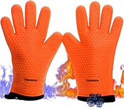 No.1 Set of Silicone Smoker Oven Gloves - Extreme Heat Resistant Washabl... - $31.07
