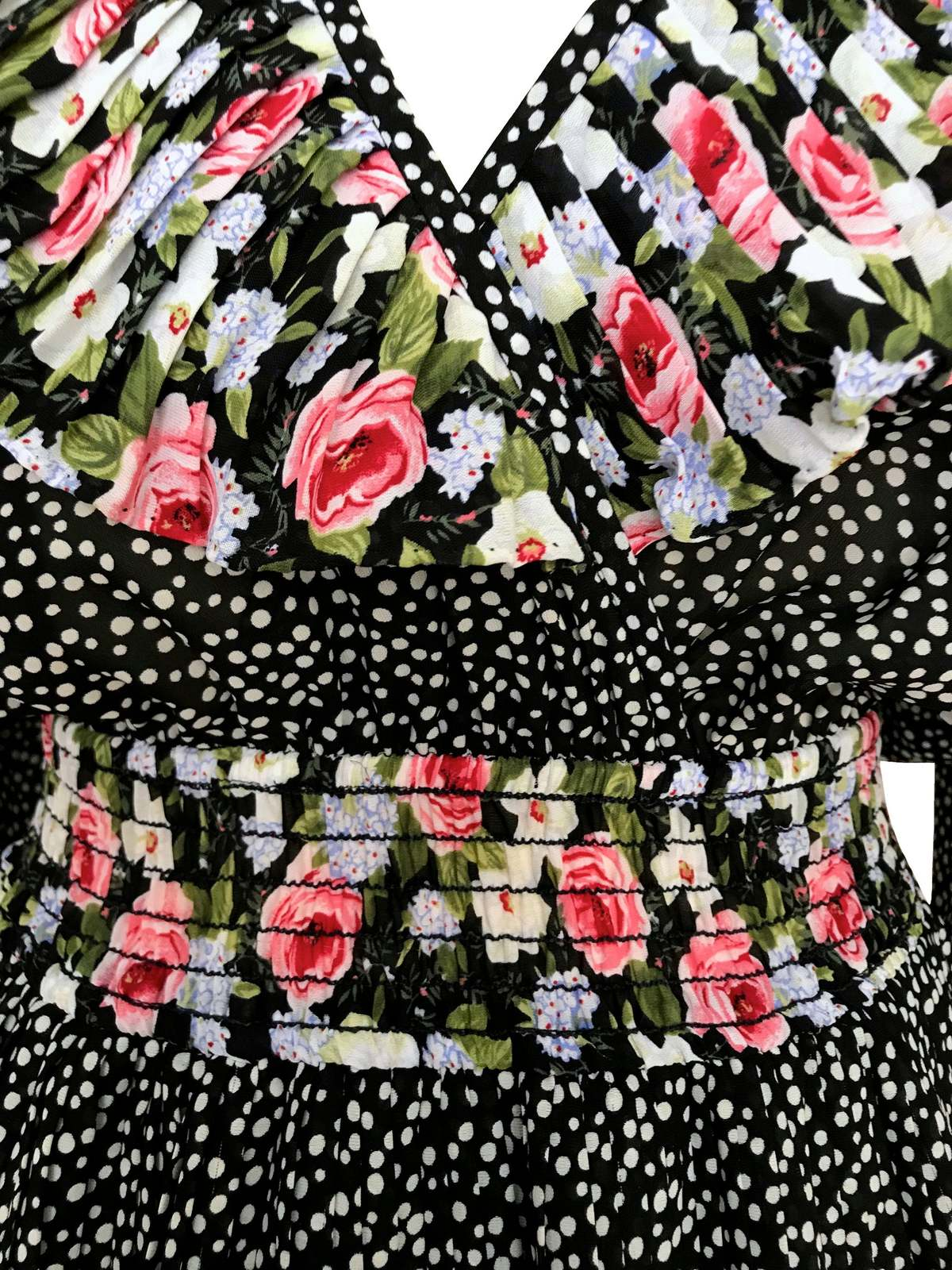 80s Vtg Susan Freis Neiman Marcus Plunge Neck Black White Polka Dot Frill Dress