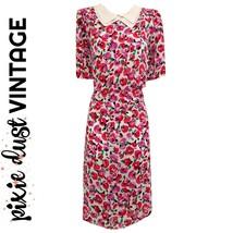 Vintage Dress Floral Collar Knee Midi 80s Pointed Print Flowers Pink Siz... - $42.34