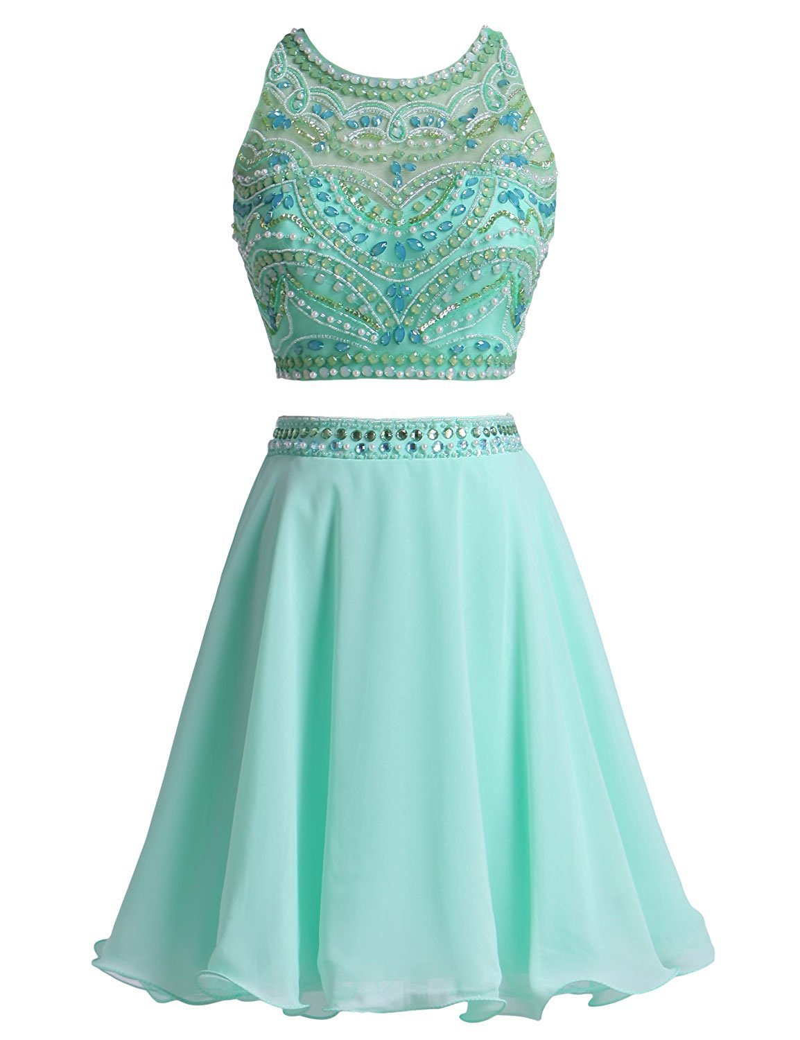 Primary image for Mint A-Line Beaded 2 Piece Homecoming Dress Halter Two Pieces Short Prom Dresses
