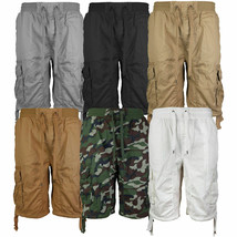 LR Scoop Men's Elastic Waist Drawstring Multi Pocket Cotton Cargo Shorts CJS-80 image 1