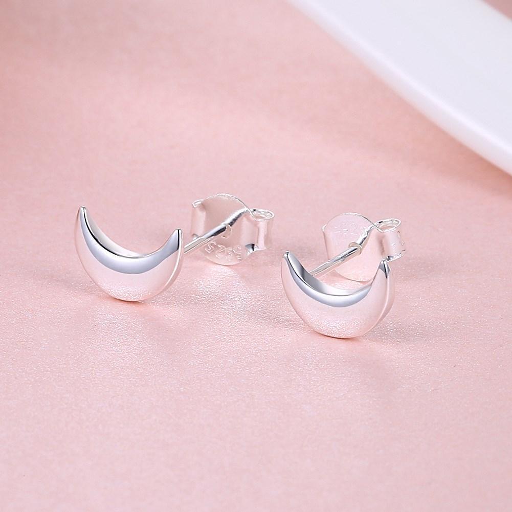 Moon Sterling Silver Stud Earrings