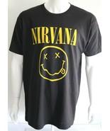 Nirvana Mens Smiley Face Graphic Tee Black 100% Cotton Size XL T-Shirt - $25.48