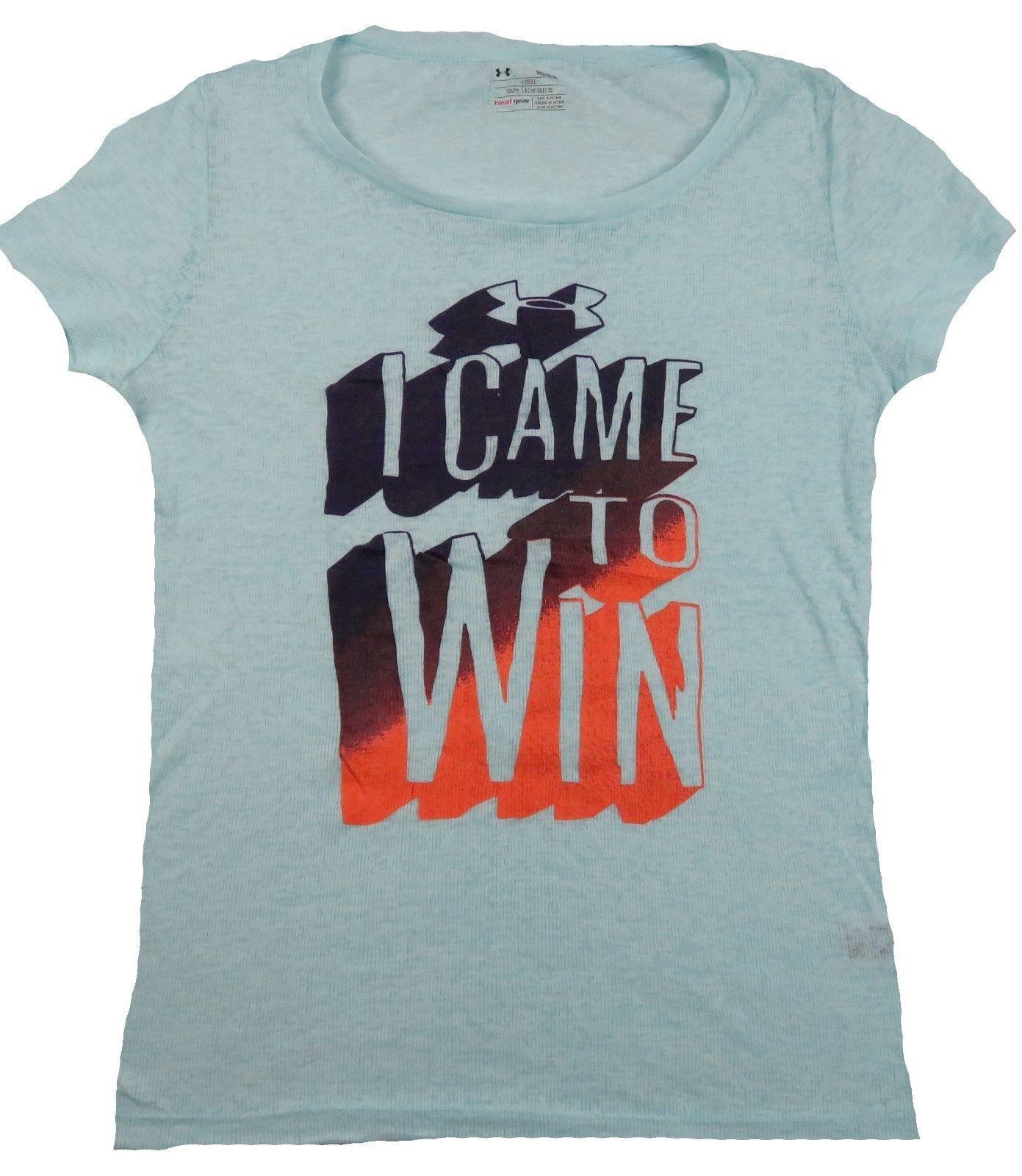 Women's Under Armour Shirt Loose Heat Gear Tee Blue Slub I Came To Win NEW