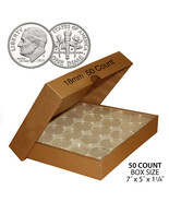 50 DIME Direct-Fit Airtight 18mm Coin Capsule Holder DIMES (QTY: 50) wit... - $15.85