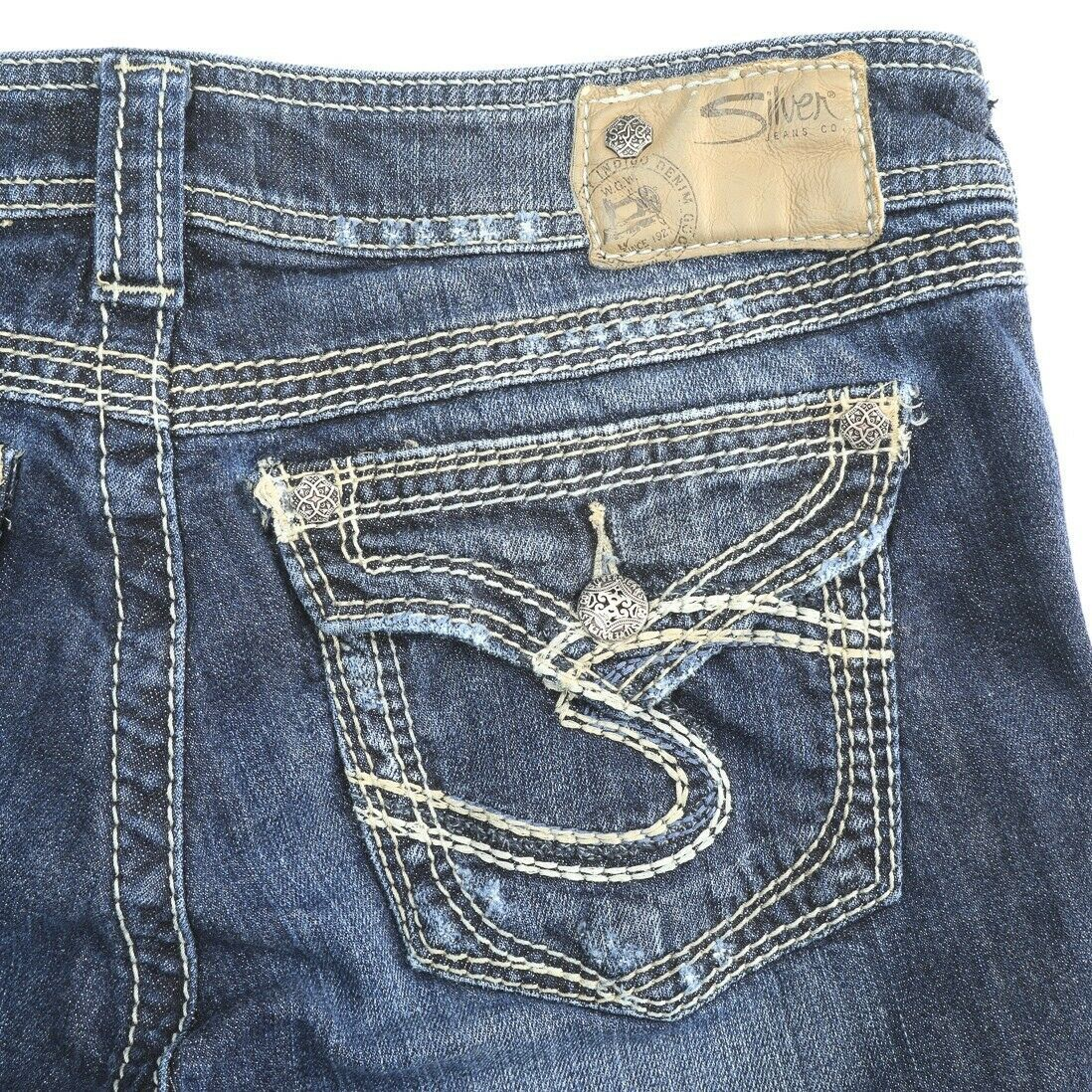 Primary image for Silver Suki Surplus Dark Wash Flap Pocket Stretch Boot Cut Jeans Womens 29 29x30