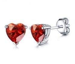 Heart Shape Red Garnet 14k White Gold Over 925 Silver For Women's Stud Earrings - $35.20