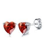 Heart Shape Red Garnet 14k White Gold Over 925 Silver For Women's Stud E... - $35.20