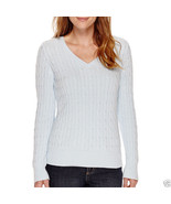 St. John's Bay Long-Sleeve Cable V-Neck Sweater Plus Size 3X Msrp $40.00... - $16.99