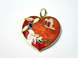 RED BUTTERFLY FLORAL DESIGN HEART SHAPE PENDANT ENAMEL CLOISONNE VINTAGE - $12.00
