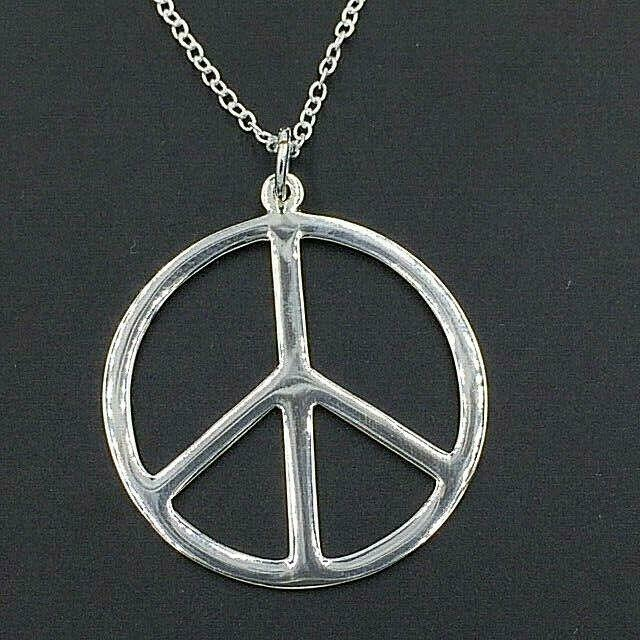 Primary image for Peace Sign Pendant Necklace Genuine Solid 925 Sterling Silver NEW