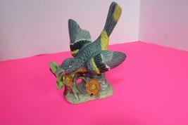 "Vintage Ceramic Lark Bird Figurine Blue Yellow Black On Flowers 5"" Tall - $9.95"