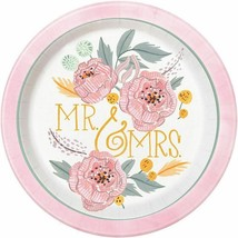 "Painted Floral 8 Ct 9"" Dinner Lunch Plates Wedding Bridal Shower - $3.95"