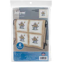 "Janlynn Stamped Cross Stitch Quilt Blocks 15""X15"" 6/Pkg Spring Watering ... - $16.54"