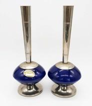 Pair of MCM chrome & blue ceramic Delft Holland bud vases - $19.99