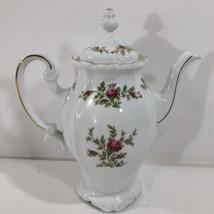 Vintage Johann Haviland Traditions Moss Rose Coffee Tea Pot White Floral w/ Lid - $69.29