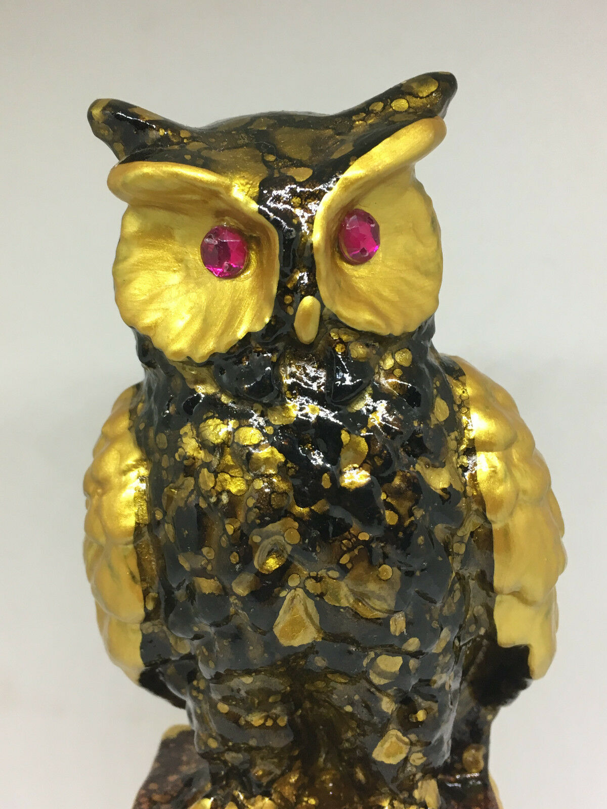 "Vintage Retro Gold Brown Owl Sitting On Books Figurine 6.5"" Tall"