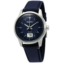 SEIKO Men's Watch Quartz Blue Dial Leather Stainless Steel Case Casual SUR287 - $114.07