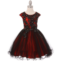 Red Black Two Tone Rhinestones Embroidery Lace Bodice Layers Wired Tulle Skirt - $74.95+