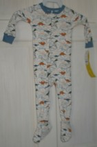 NWT Carter's 12M White with Colorful Dinosaurs Blue Trim Footed Pajamas PJ's - $18.81