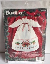 Bucilla stamped cross stitch kit 3319 Have a Beary Merry Christmas angel... - $13.86
