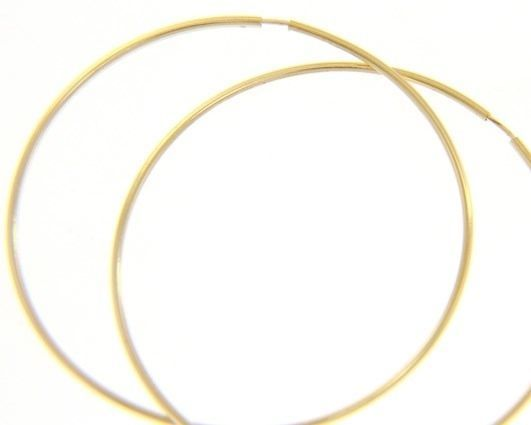 18K YELLOW GOLD ROUND CIRCLE HOOP EARRINGS DIAMETER 40 MM x 1 MM, MADE IN ITALY