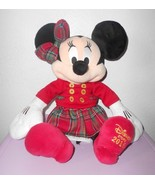 2016 Disney Store Christmas Minnie Mouse Plush Stuffed Animal Red Plaid - $14.72