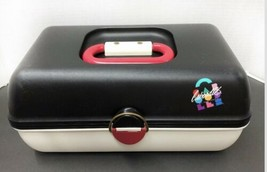 VTG Caboodles Make Up Carrying Case #2620 Mirror Removable Tray Blk Pink... - $41.80