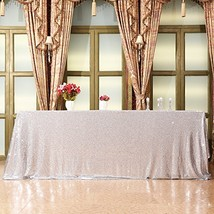 Eternal Beauty 60'' X 120'' Silver Sequin Tablecloth Wedding Banquet Par... - $31.90