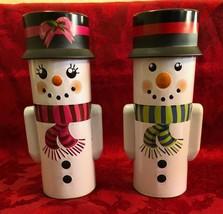New Boy and Girl Snowman Tin Coin Bank - $14.03