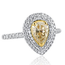1.22 Carat Pear Shaped Yellow Diamond Engagement Double Halo Ring 14k Wh... - €2.012,76 EUR