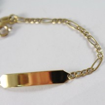 Yellow Gold Bracelet 750 18k, OVAL ALTERNATING and Plate for Engraving, 15 cm image 2