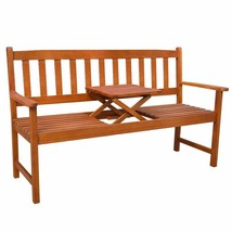 vidaXL Acacia Wood Garden Bench with Integrated Pop-Up Table Outdoor Patio - $117.99