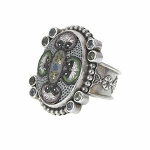 Mars and Valentine's One-Of-A-Kind Vintage Micro Mosaic Oval Ring - $336.60